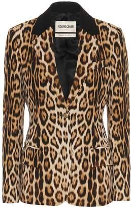 Roberto Cavalli Leopard-print stretch-crepe blazer