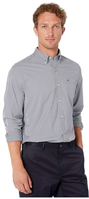 Southern Tide Point Pinos Micro Gingham Intercoastal Performance Sports Shirt (True Navy) Men's Long Sleeve Button Up