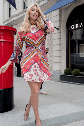 Girls On Film Claridge Scarf-Print Shift Dress