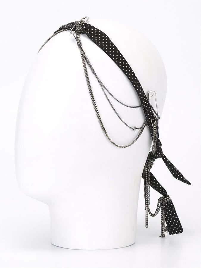 Maison Michel Polka dot and chain headband