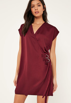 Missguided Burgundy D Ring Wrap Front Mini Dress