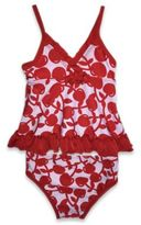 Absorba Size 18M 2-Piece Cherry Print Swimsuit in Red/White