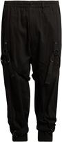 Yohji Yamamoto Leg-harness tapered-leg wool-drill trousers