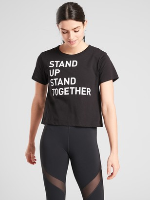Athleta Daily Crop Tee Stand Up Graphic