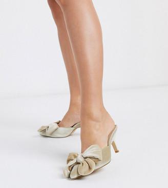 Co Wren Wide Fit bow pointed heeled mule in velvet