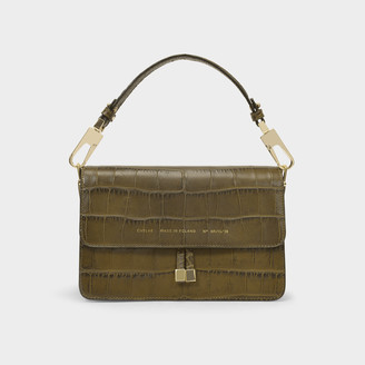 CHYLAK Vintage Clasp Handbag In Olive Leather