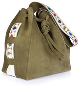 Zeus and Dione Syros Embroidered Suede Tote Bag, Khaki