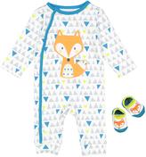 Vitamins Baby White & Blue Fox Playsuit & Socks - Infant