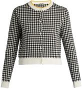 Miu Miu Button-down gingham-intarsia cotton cardigan
