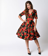 Unique Vintage 1950s Style Black & Red Rose Half Sleeve Delores Swing Dress