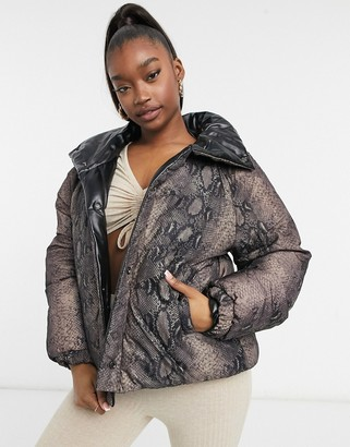 Blank NYC between the line leather look puffer jacket