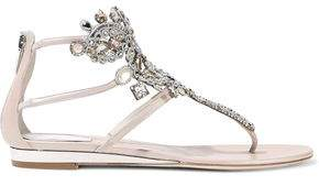 Rene Caovilla Rene' Caovilla Crystal-embellished Leather Sandals