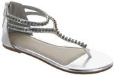 Laura Ashley Silver Metallic & Blue Rhinestone Y-Strap Sandal