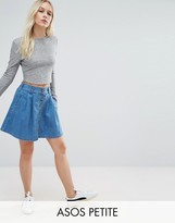 Asos Denim Button Front Mini Skater Skirt In Mid Wash Blue