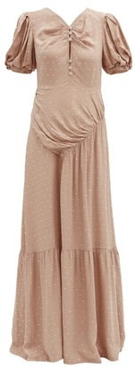 Self-Portrait Gathered Crystal-embellished Crepe Maxi Dress - Nude