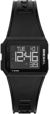 Diesel Men's Digital Chopped Black Polyurethane Strap Watch 38mm