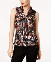 Nine West Printed Tie-Neck Shell