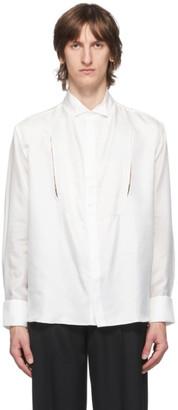 Carlota Barrera White Silk Habotai Cut-Out Tuxedo Shirt