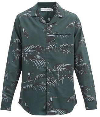 Desmond & Dempsey Bocas-print Cotton Pyjama Shirt - Green