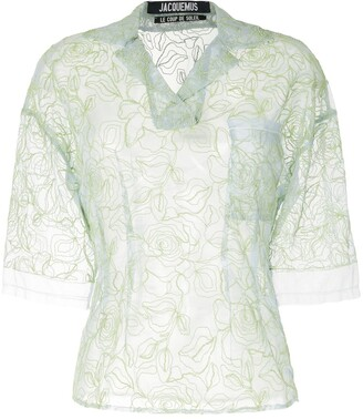 Jacquemus Floral-Embroidered Sheer Blouse