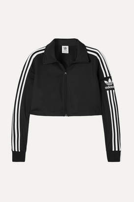adidas Cropped Striped Stretch-jersey Track Jacket - Black