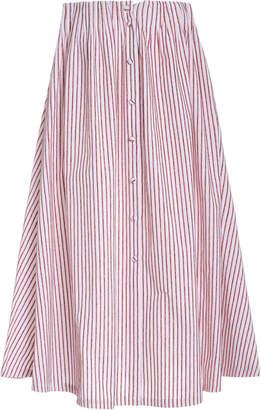 By Any Other Name Velvet-Striped Cotton Midi Skirt