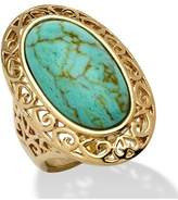 Seta Jewelry Oval-shape Turquoise Filigree Ring.