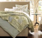 Raleigh Upholstered Square Bed with Nailhead & Hudson Dresser Set