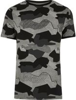 River Island MensGrey jigsaw camo muscle fit T-shirt