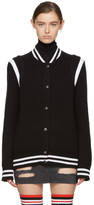 Givenchy Black Knit Logo Teddy Bomber Jacket