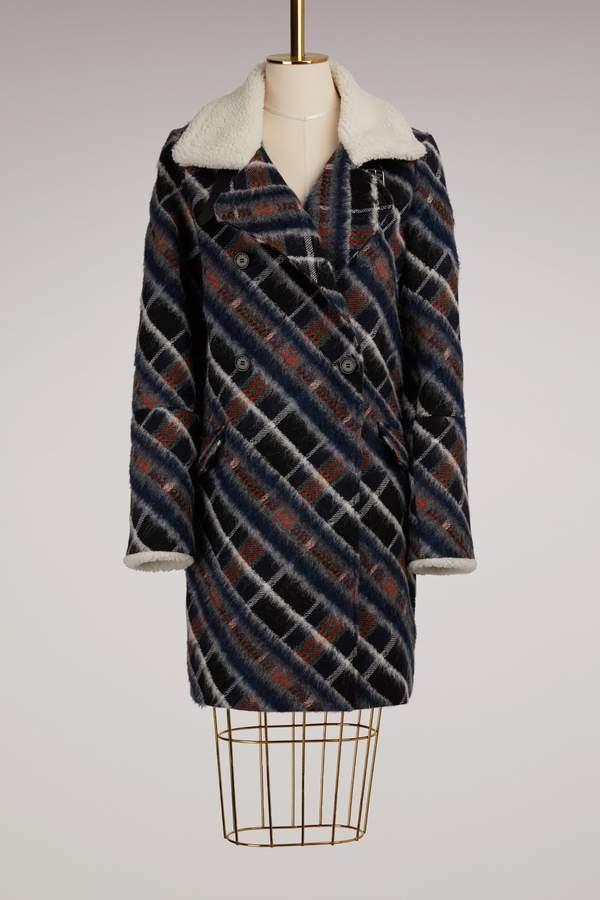 Kenzo Wool Coat with Fur Collar