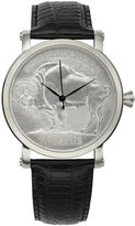 Croton Mens Silver-Tone Dial Black Leather Strap Buffalo Five-Cent Coin Watch