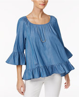 Style&Co. Style & Co Petite Off-The-Shoulder Denim Ruffle Top, Created for Macy's
