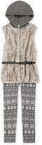 Beautees 2-Pc. Hooded Faux-Fur Vest & Leggings Set, Big Girls (7-16)