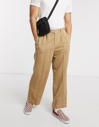 ASOS DESIGN high waist wide leg smart pants in camel herringbone