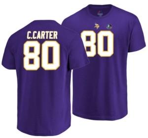 Vf Licensed Sports Group Majestic Men's Cris Carter Minnesota Vikings Hall of Fame Eligible Receiver Triple Peak T-Shirt