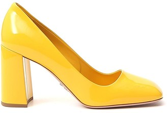 Prada Square Toe Block Heel Pumps