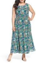 Lafayette 148 New York Plus Size Women's Estrella Palm Print Maxi Dress