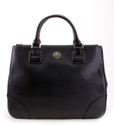 Tory Burch Black Robinson Leather Double Zip Tote