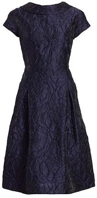 Teri Jon by Rickie Freeman Floral Jacquard Cap Sleeve A-Line Dress