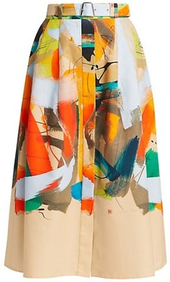 Akris Brushstroke-Print Cotton Midi Skirt