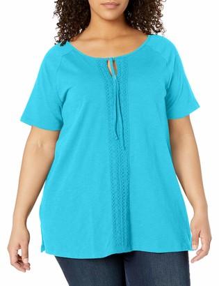 Just My Size Women's Plus-Size Split Neck Lace Front Top