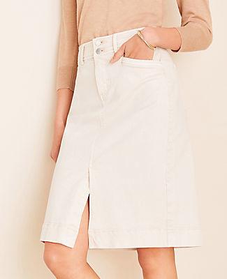 Ann Taylor Petite Double Button Denim Skirt