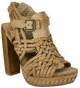 Naughty Monkey Bingo Star Woven Leather Block Heel Sandals