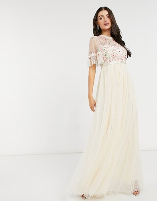 Needle & Thread embellished tiered sleeve midaxi dress in champagne