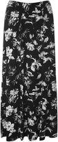 Evans Black Floral Print Maxi Skirt