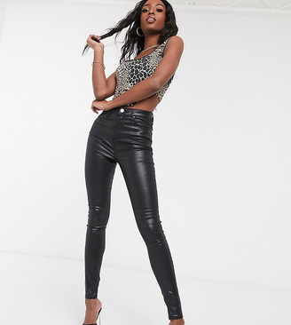 Asos Tall ASOS DESIGN Tall Ridley high waist skinny jeans in black coated