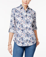 Karen Scott Cotton Printed Roll-Tab Shirt, Only at Macy's