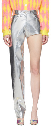 pushBUTTON SSENSE Exclusive Silver One-Leg Trousers