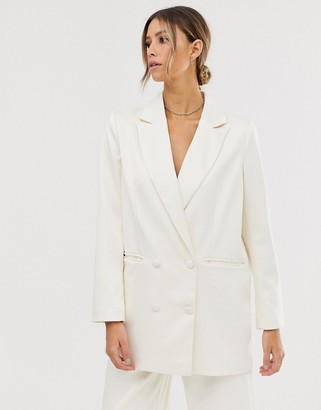 Asos Edition EDITION double breasted wedding blazer in satin-Cream